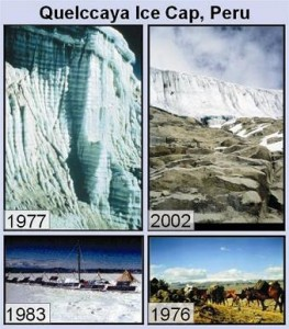 A 4 image panel showing the retreat of the ice margin over a 25 year period.