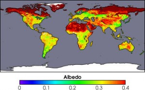Earth's albedo on world map