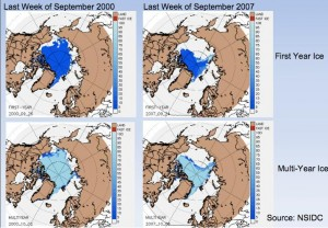 First-year and multiyear ice during the last week of September in 2000 and 2007. Images courtesy of National Snow and Ice Data Center.